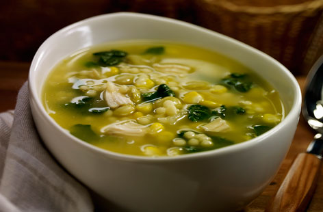 Smoked Chicken, Roasted Garlic Farro & Spinach Soup – NEW!!