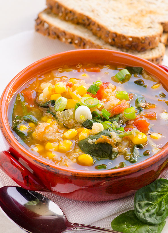 Peruvian Quinoa, Roasted Red Pepper & Grilled Corn Soup