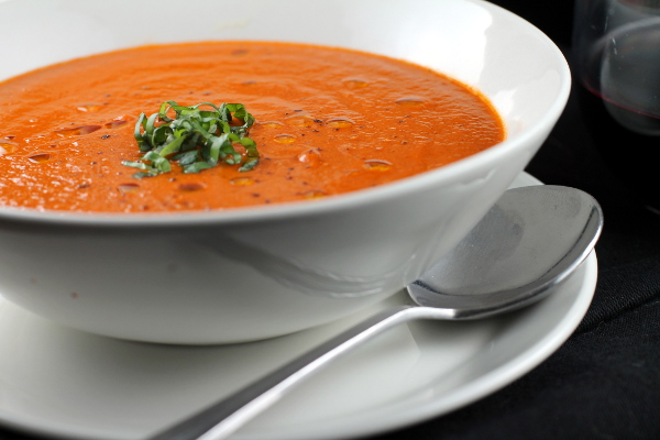 SMOKEY ROASTED RED PEPPER & HEIRLOOM TOMATO BISQUE